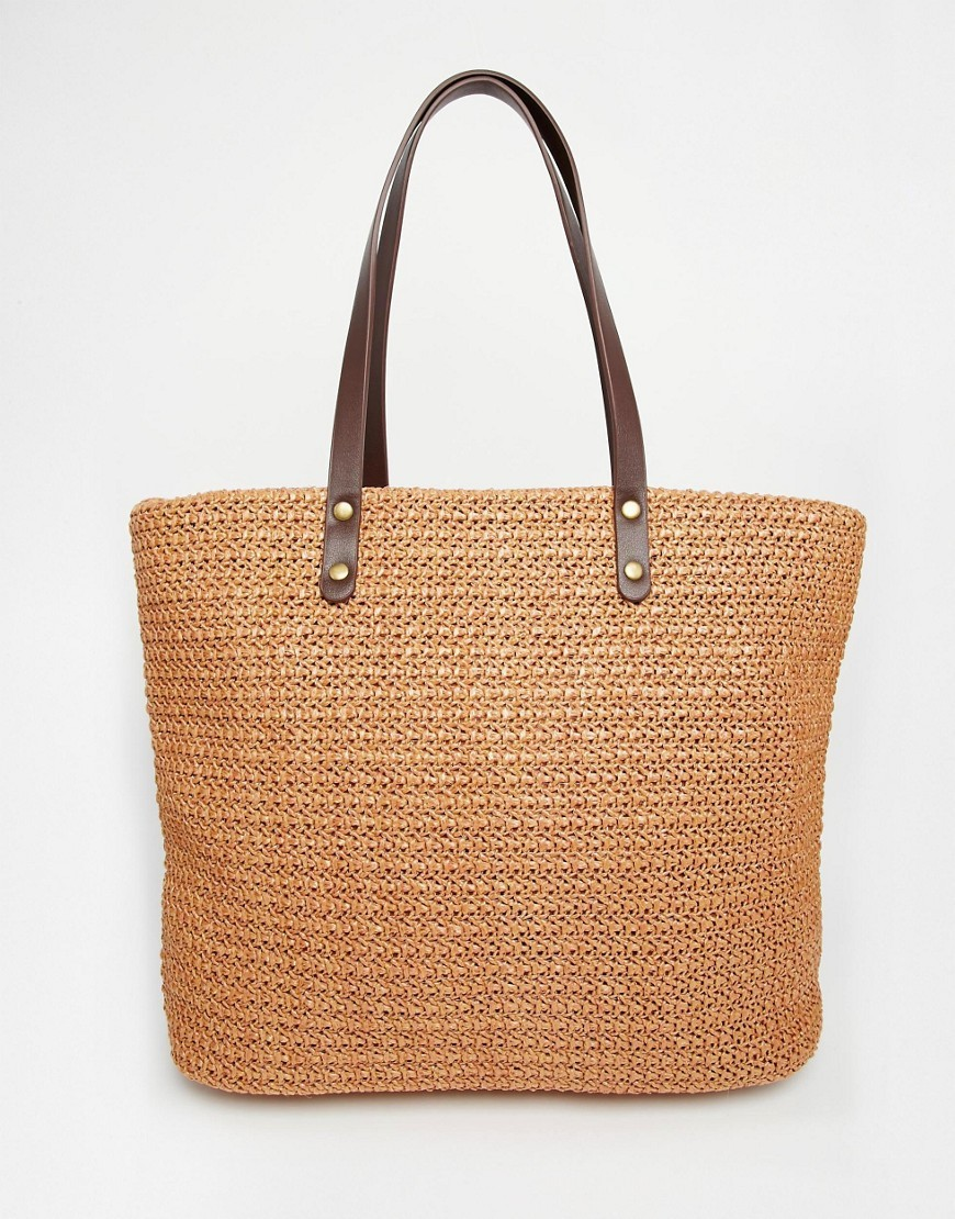 Straw Beach Bag Tan - predominant colour: tan; occasions: casual, creative work; type of pattern: standard; style: tote; length: shoulder (tucks under arm); size: standard; material: macrame/raffia/straw; pattern: plain; finish: plain; season: s/s 2016; wardrobe: highlight