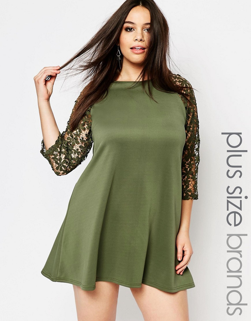 Plus Swing Dress With Crochet Sleeves Khaki - style: trapeze; length: mid thigh; fit: loose; pattern: plain; predominant colour: khaki; occasions: evening; fibres: polyester/polyamide - stretch; neckline: crew; sleeve length: 3/4 length; sleeve style: standard; pattern type: fabric; texture group: other - light to midweight; embellishment: lace; shoulder detail: sheer at shoulder; season: s/s 2016; wardrobe: event