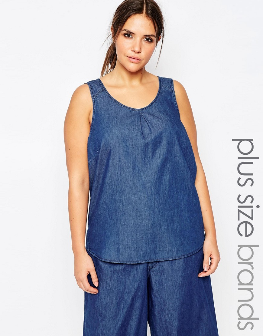 Sleeveless Denim Top Blue - sleeve style: standard vest straps/shoulder straps; pattern: plain; style: vest top; predominant colour: navy; occasions: casual; length: standard; neckline: scoop; fibres: cotton - 100%; fit: straight cut; sleeve length: sleeveless; texture group: denim; pattern type: fabric; season: s/s 2016; wardrobe: basic