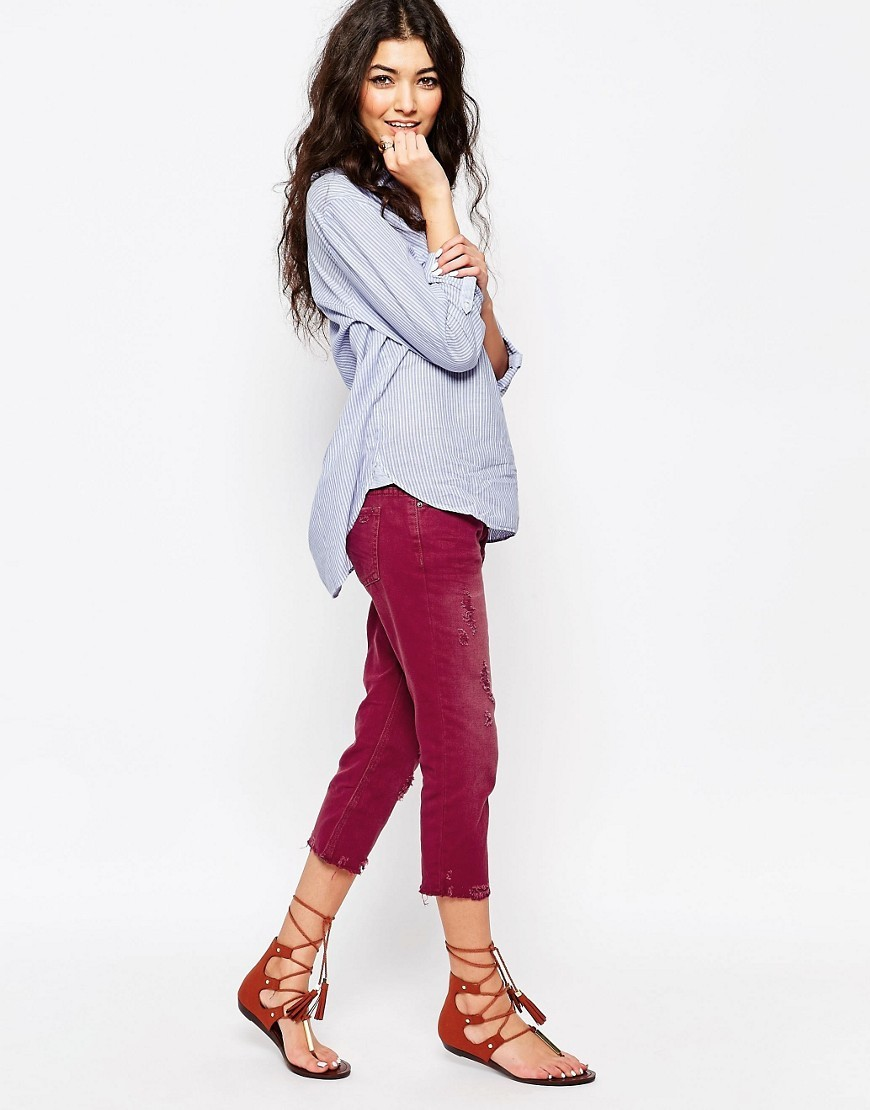 Crop Vintage Jeans Purple - style: skinny leg; pattern: plain; pocket detail: traditional 5 pocket; waist: mid/regular rise; predominant colour: purple; occasions: casual; length: calf length; fibres: cotton - 100%; texture group: denim; pattern type: fabric; season: s/s 2016