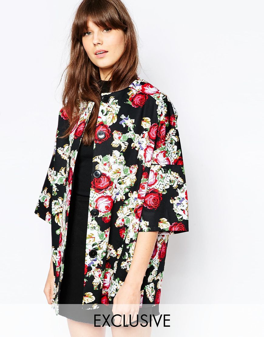 Kimono Coat Printed Embroidery Floral Black - length: below the bottom; collar: round collar/collarless; fit: loose; style: single breasted; secondary colour: hot pink; predominant colour: black; fibres: cotton - stretch; occasions: occasion; sleeve length: 3/4 length; sleeve style: standard; texture group: cotton feel fabrics; collar break: high; pattern type: fabric; pattern size: standard; pattern: florals; multicoloured: multicoloured; season: s/s 2016; wardrobe: event