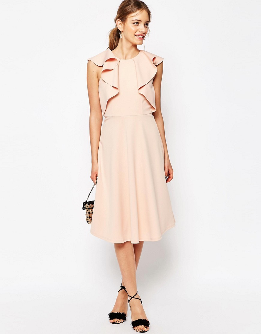 Ruffle Neck Skater Midi Dress Pink - length: below the knee; pattern: plain; sleeve style: sleeveless; predominant colour: blush; fit: fitted at waist & bust; style: fit & flare; fibres: polyester/polyamide - 100%; occasions: occasion; neckline: crew; hip detail: soft pleats at hip/draping at hip/flared at hip; sleeve length: sleeveless; pattern type: fabric; texture group: other - light to midweight; season: s/s 2016; wardrobe: event