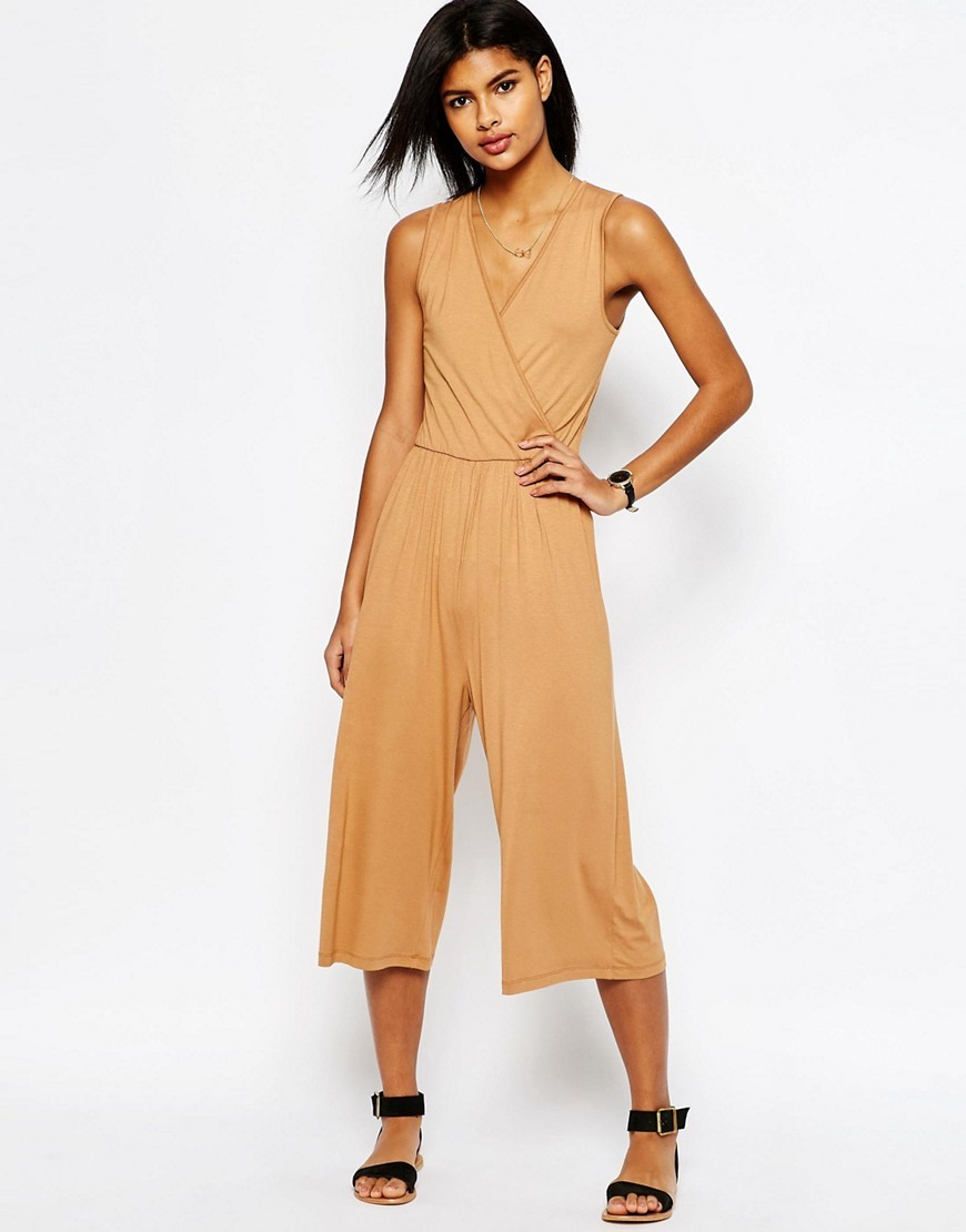 Sleeveless Jersey Jumpsuit With Wrap Front Caramel - neckline: v-neck; pattern: plain; sleeve style: sleeveless; predominant colour: nude; occasions: evening; length: calf length; fit: body skimming; fibres: viscose/rayon - stretch; sleeve length: sleeveless; style: jumpsuit; pattern type: fabric; texture group: jersey - stretchy/drapey; season: s/s 2016