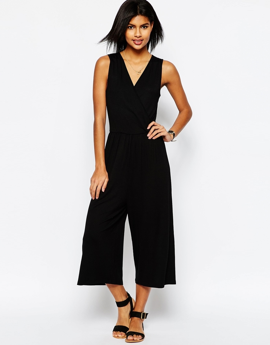 Sleeveless Jersey Jumpsuit With Wrap Front Black - neckline: v-neck; pattern: plain; sleeve style: sleeveless; predominant colour: black; occasions: evening; length: calf length; fit: body skimming; fibres: viscose/rayon - stretch; sleeve length: sleeveless; style: jumpsuit; pattern type: fabric; texture group: jersey - stretchy/drapey; season: s/s 2016