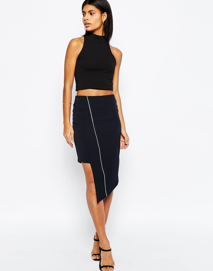 Premium Asymmetric Pencil Skirt With Piping Detail Navy - length: below the knee; pattern: plain; style: pencil; fit: tight; waist: mid/regular rise; predominant colour: black; occasions: evening; fibres: polyester/polyamide - stretch; texture group: jersey - clingy; pattern type: fabric; season: s/s 2016; wardrobe: event