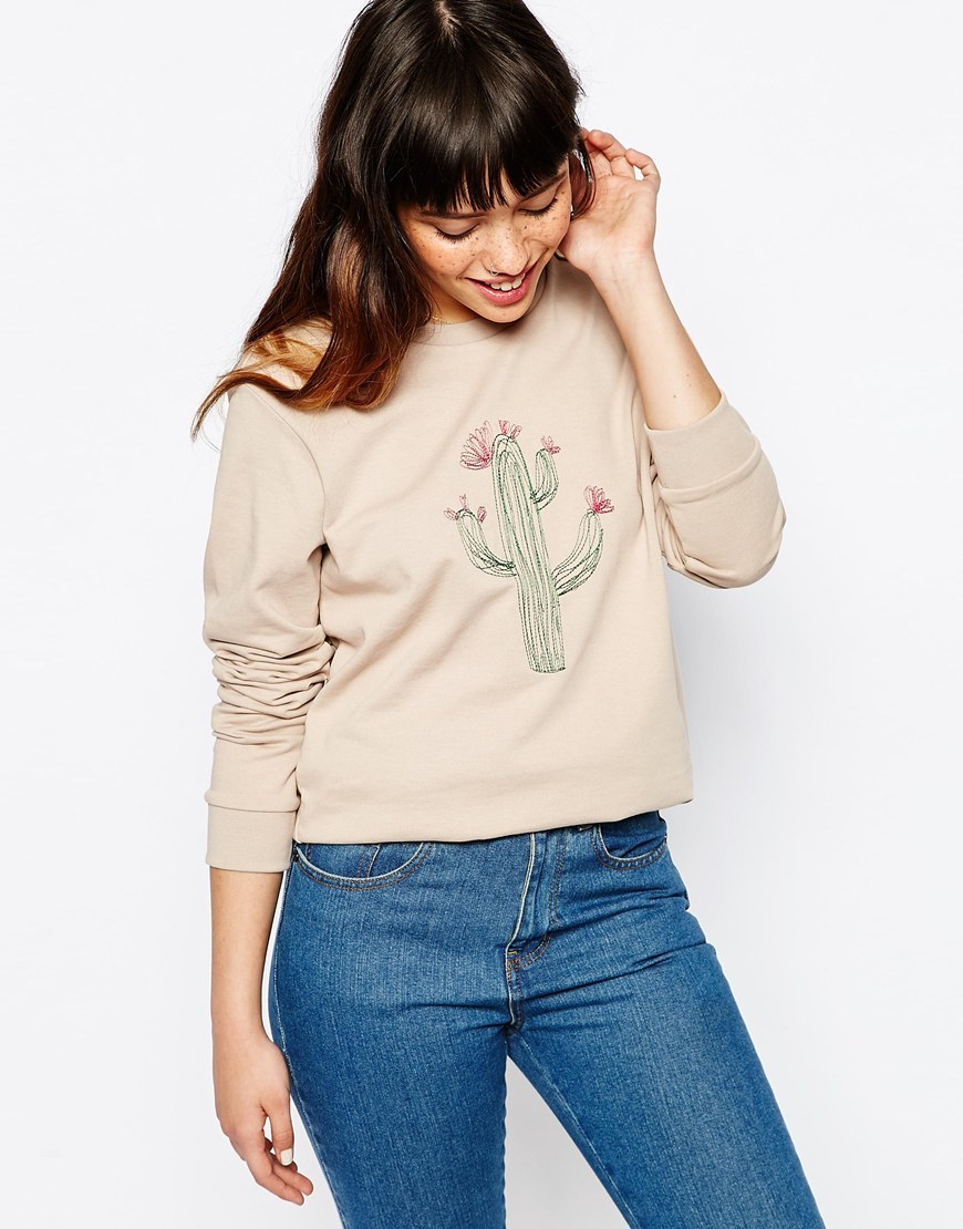 Sweatshirt With Embroidered Cactus Stone - style: sweat top; secondary colour: dark green; predominant colour: stone; occasions: casual; length: standard; fibres: cotton - stretch; fit: straight cut; neckline: crew; sleeve length: long sleeve; sleeve style: standard; pattern type: fabric; pattern size: standard; pattern: patterned/print; texture group: jersey - stretchy/drapey; embellishment: embroidered; season: s/s 2016; wardrobe: highlight