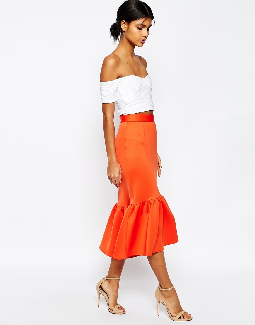 Scuba Midi Skirt With Tiered Hem Orange - length: below the knee; pattern: plain; fit: tailored/fitted; style: tiered; waist: high rise; predominant colour: bright orange; occasions: evening, occasion; fibres: polyester/polyamide - stretch; hip detail: adds bulk at the hips; pattern type: fabric; texture group: other - light to midweight; season: s/s 2016; wardrobe: event