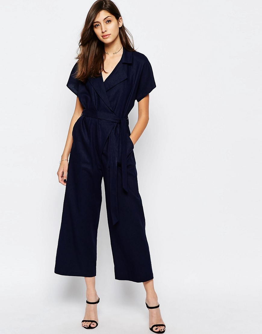 Wrap Jumpsuit In Linen Navy - neckline: low v-neck; pattern: plain; predominant colour: navy; occasions: evening; length: ankle length; fit: body skimming; fibres: linen - mix; sleeve length: short sleeve; sleeve style: standard; style: jumpsuit; pattern type: fabric; texture group: jersey - stretchy/drapey; season: s/s 2016; wardrobe: event