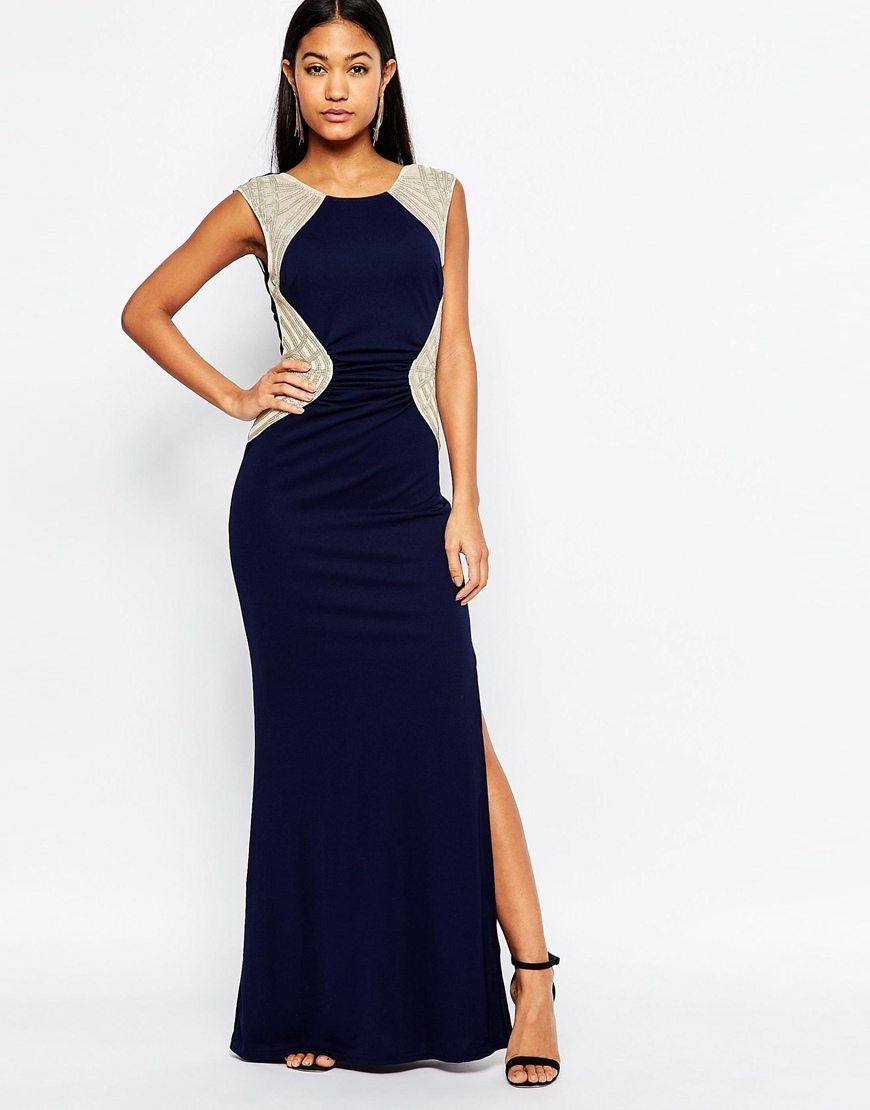 Michelle Keegan Loves Maxi Dress With Sequin Insert Waist Navy - pattern: plain; sleeve style: sleeveless; style: maxi dress; predominant colour: navy; secondary colour: champagne; occasions: evening; length: floor length; fit: body skimming; fibres: polyester/polyamide - 100%; neckline: crew; sleeve length: sleeveless; pattern type: fabric; texture group: jersey - stretchy/drapey; embellishment: sequins; season: s/s 2016; wardrobe: event