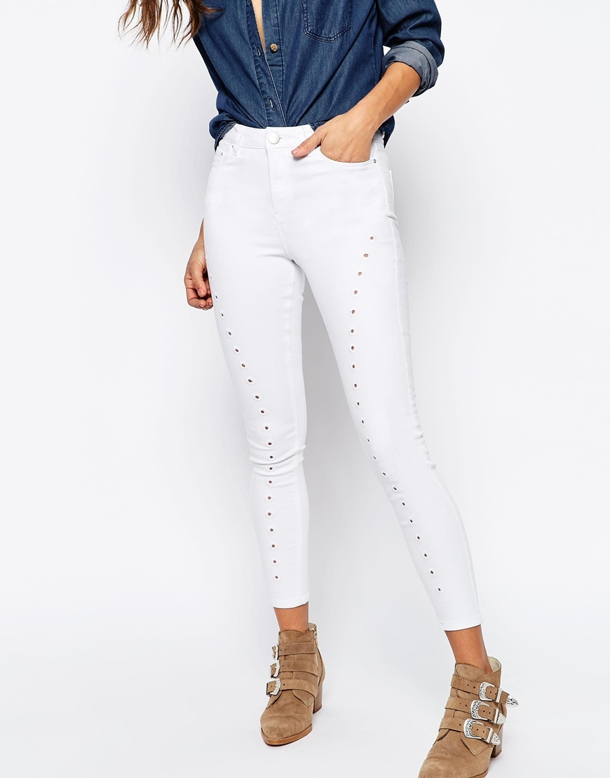 Ridley Skinny Jeans In White With Cutwork Detail Optic White - style: skinny leg; pattern: plain; waist: high rise; pocket detail: traditional 5 pocket; predominant colour: white; occasions: casual; length: ankle length; fibres: cotton - stretch; texture group: denim; pattern type: fabric; season: s/s 2016; wardrobe: highlight