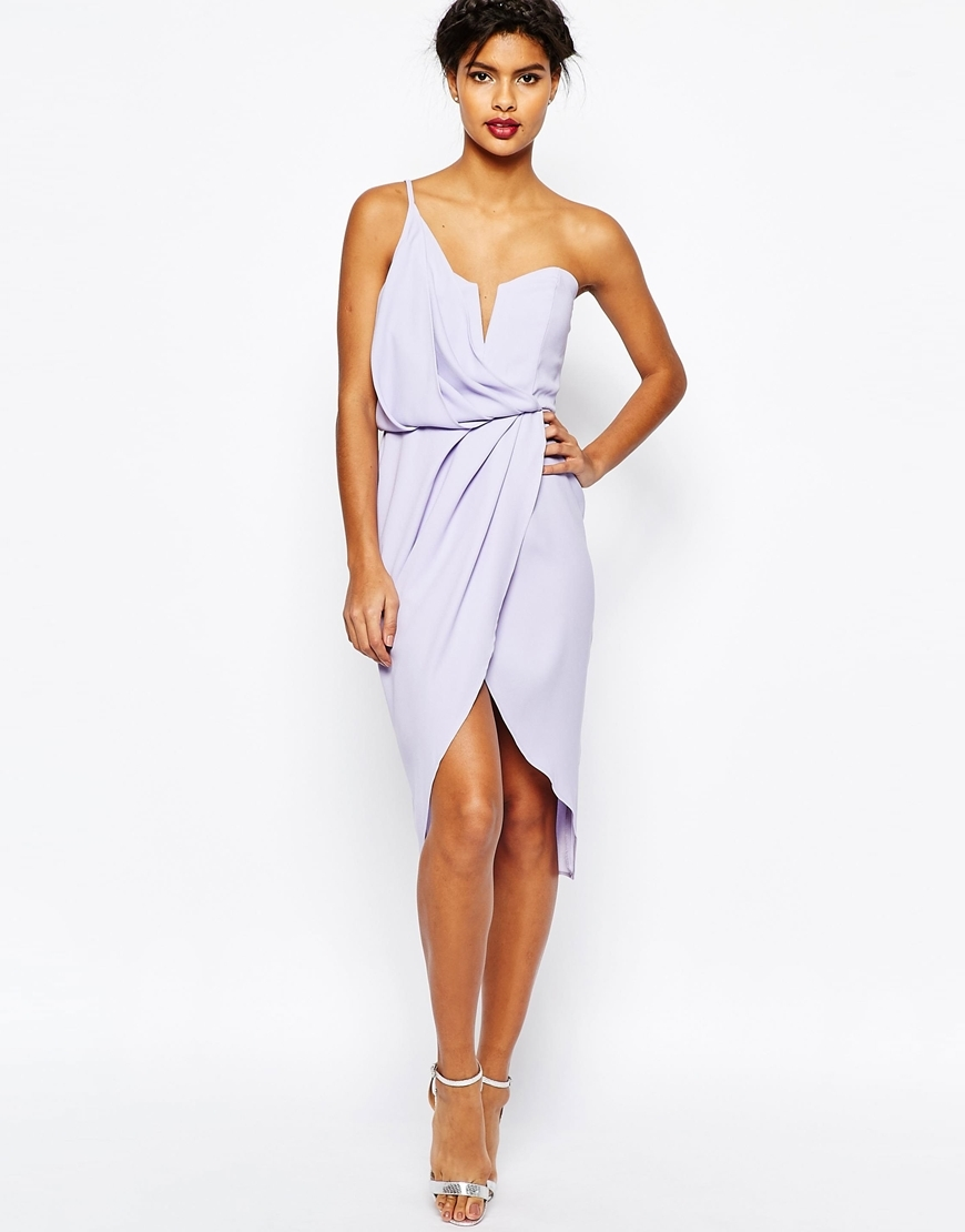 Asymmetric One Shoulder Wrap Front Pencil Dress Lilac - neckline: low v-neck; sleeve style: spaghetti straps; pattern: plain; style: asymmetric (top); predominant colour: pale blue; occasions: evening, occasion; length: just above the knee; fit: body skimming; fibres: polyester/polyamide - 100%; sleeve length: sleeveless; pattern type: fabric; texture group: other - light to midweight; season: s/s 2016