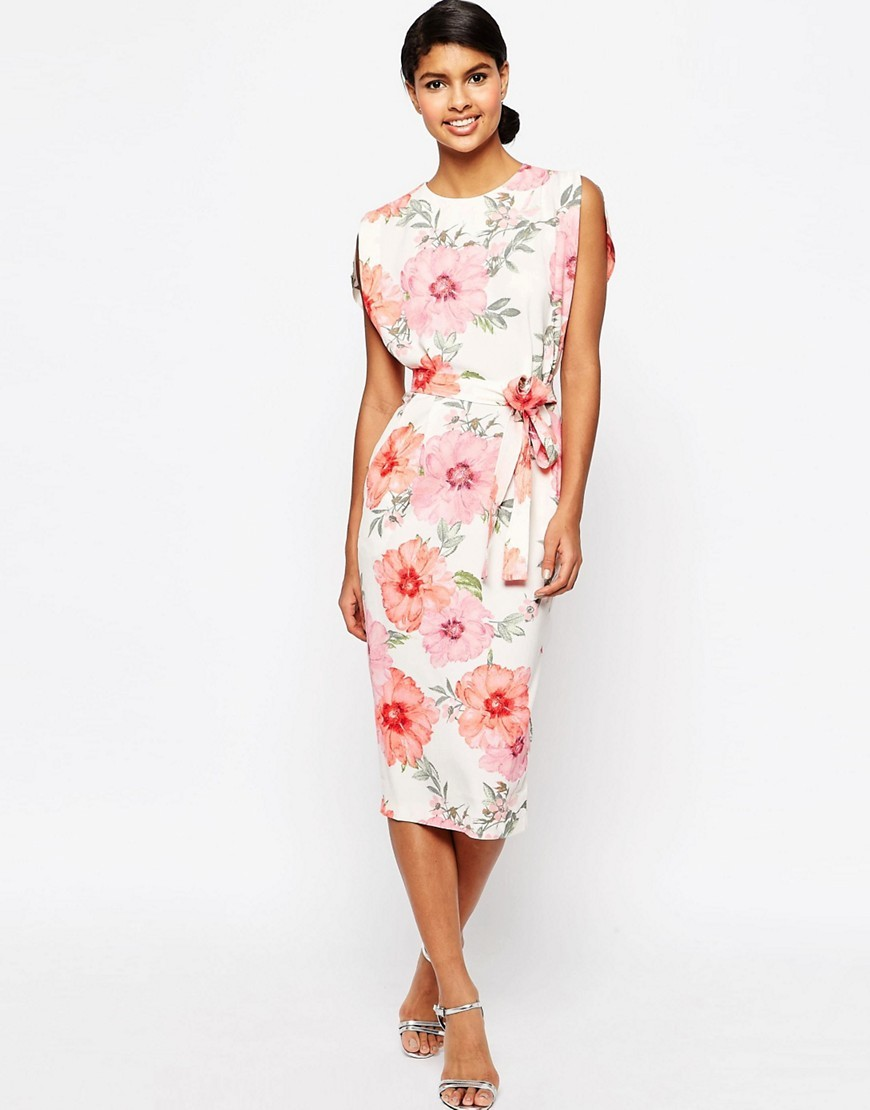 Belted Midi Dress With Split Cap Sleeve In Occasion Floral Multi - style: shift; length: below the knee; sleeve style: sleeveless; predominant colour: ivory/cream; fit: body skimming; fibres: polyester/polyamide - stretch; occasions: occasion; neckline: crew; sleeve length: sleeveless; pattern type: fabric; pattern: florals; texture group: other - light to midweight; multicoloured: multicoloured; season: s/s 2016; wardrobe: event