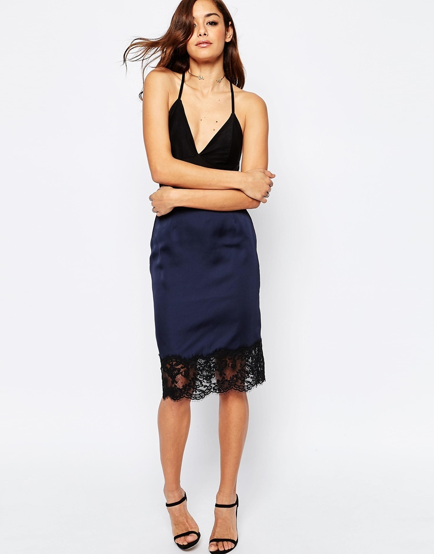Boudoir Lace Trim Slip Skirt Navy - length: below the knee; pattern: plain; style: pencil; fit: tailored/fitted; waist: high rise; predominant colour: navy; occasions: evening; fibres: polyester/polyamide - 100%; pattern type: fabric; texture group: woven light midweight; embellishment: lace; season: s/s 2016; wardrobe: event; embellishment location: hip