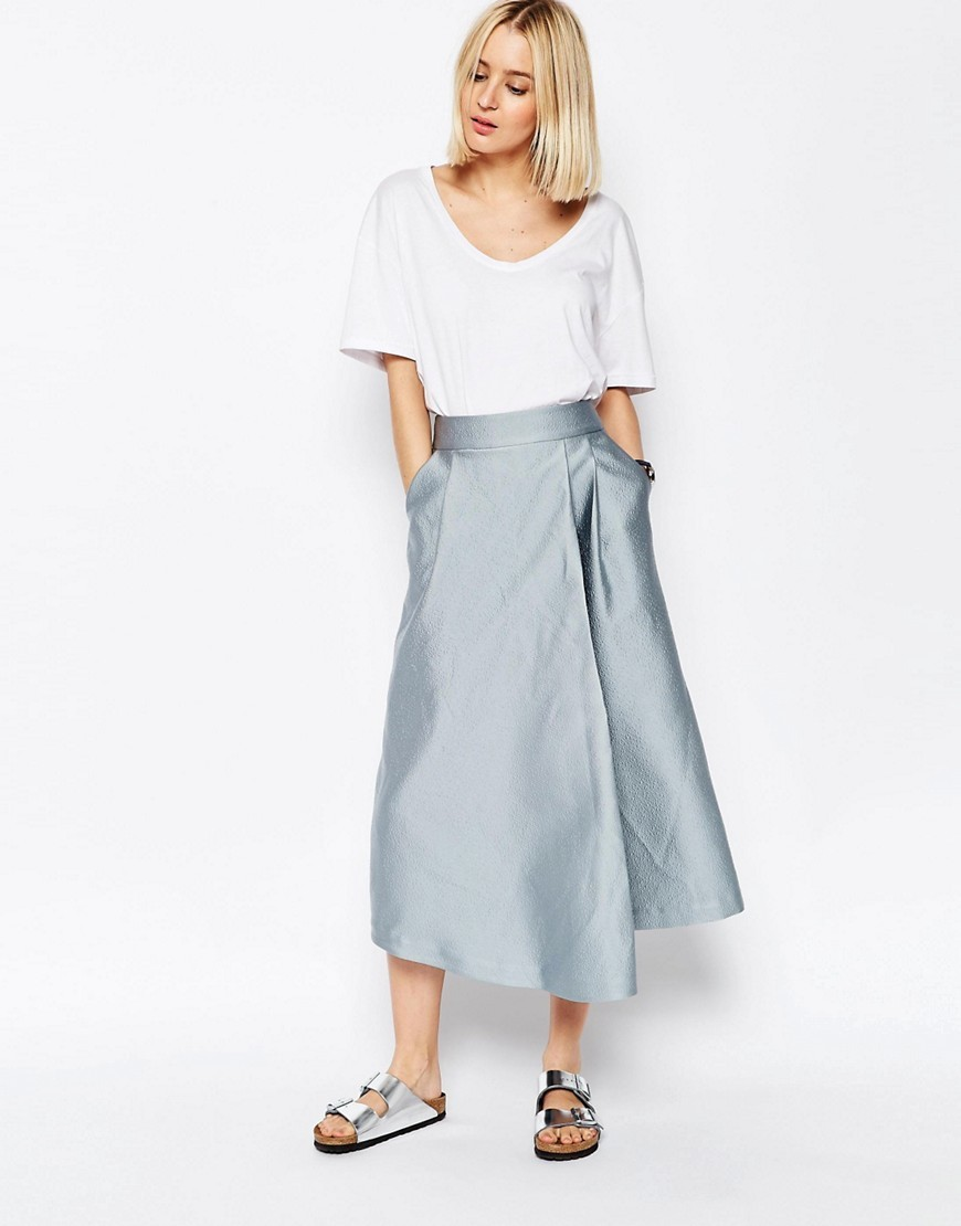 Textured Satin Wide Leg Culottes Blue - pattern: plain; style: palazzo; waist: mid/regular rise; predominant colour: pale blue; occasions: evening, creative work; length: ankle length; fibres: polyester/polyamide - mix; texture group: structured shiny - satin/tafetta/silk etc.; fit: wide leg; pattern type: fabric; season: s/s 2016; wardrobe: highlight