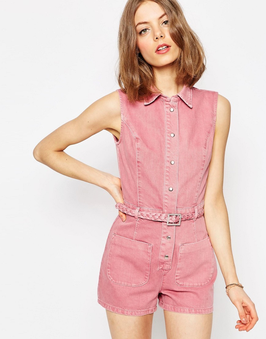 Denim Plait Waist Playsuit Pink - neckline: shirt collar/peter pan/zip with opening; pattern: plain; sleeve style: sleeveless; length: short shorts; predominant colour: pink; occasions: casual; fit: body skimming; fibres: cotton - 100%; sleeve length: sleeveless; texture group: denim; style: playsuit; pattern type: fabric; season: s/s 2016; wardrobe: highlight
