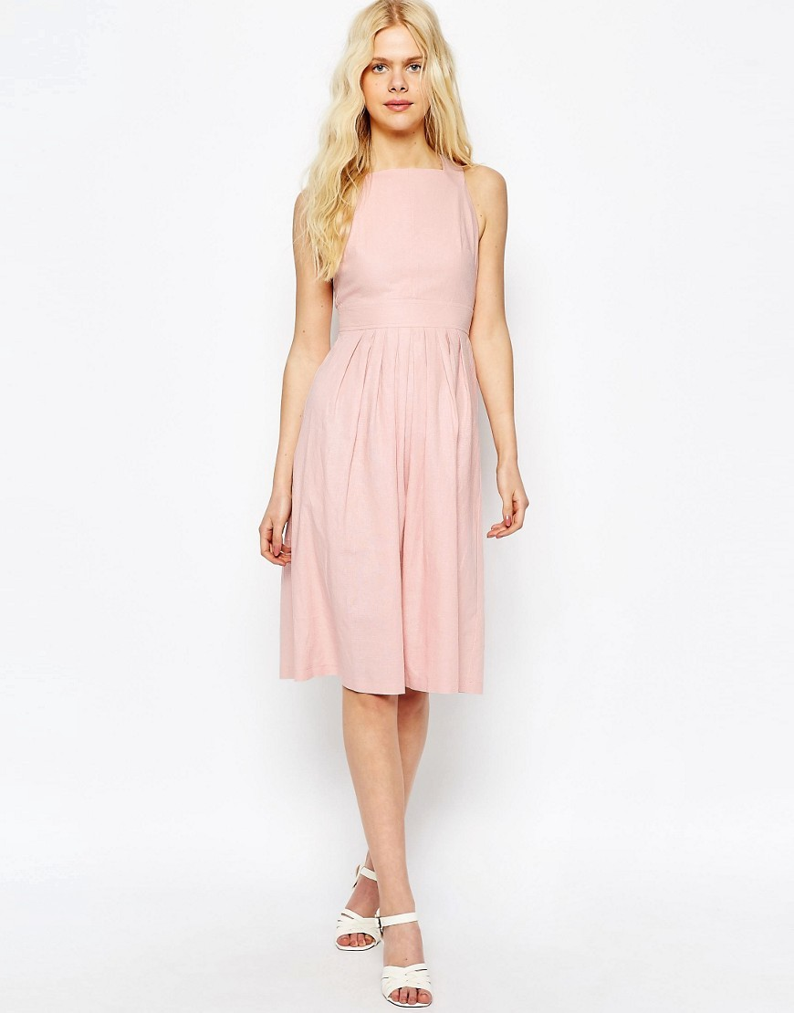 Occasion Midi Dress In Linen Pink - length: below the knee; pattern: plain; sleeve style: sleeveless; waist detail: fitted waist; predominant colour: pink; occasions: evening; fit: fitted at waist & bust; style: fit & flare; fibres: linen - mix; neckline: crew; hip detail: subtle/flattering hip detail; sleeve length: sleeveless; pattern type: fabric; texture group: woven light midweight; season: s/s 2016; wardrobe: event