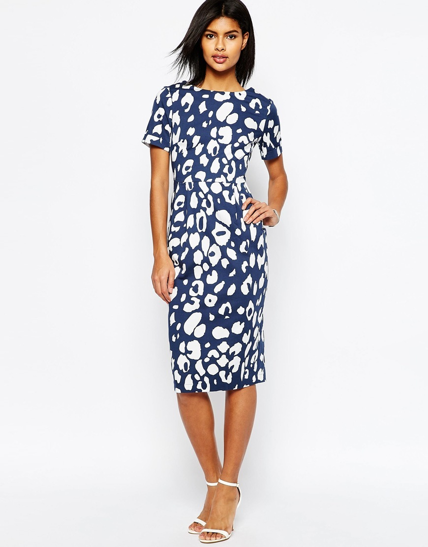 Wiggle Dress In Navy Animal Print Multi - style: shift; length: below the knee; fit: tailored/fitted; secondary colour: white; predominant colour: navy; fibres: polyester/polyamide - 100%; occasions: occasion; neckline: crew; sleeve length: short sleeve; sleeve style: standard; pattern type: fabric; pattern size: standard; pattern: patterned/print; texture group: other - light to midweight; season: s/s 2016; wardrobe: event