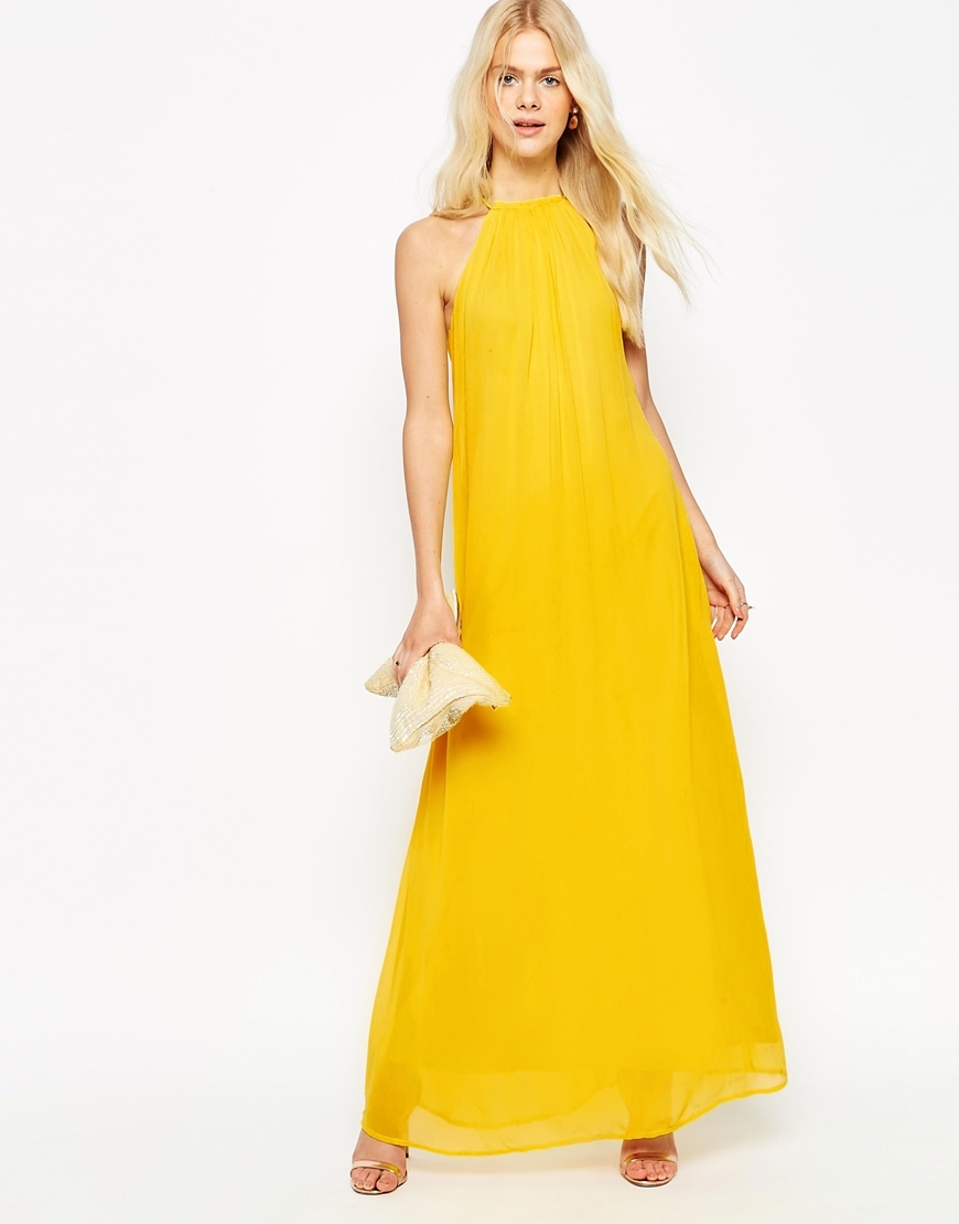 High Neck Swing Maxi Dress Yellow - fit: loose; pattern: plain; sleeve style: sleeveless; style: maxi dress; length: ankle length; predominant colour: yellow; fibres: viscose/rayon - 100%; occasions: occasion; neckline: crew; sleeve length: sleeveless; pattern type: fabric; texture group: other - light to midweight; season: s/s 2016; wardrobe: event