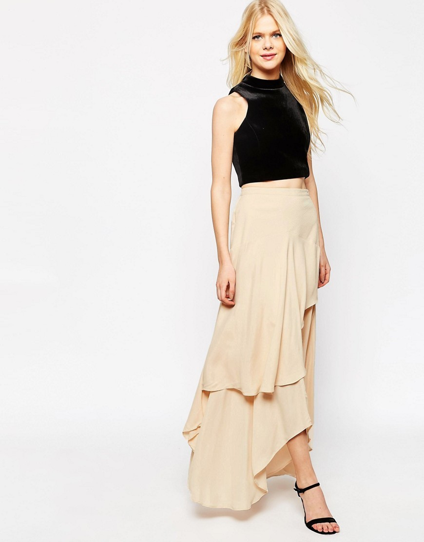 Floaty Maxi Skirt With Layers Nude - pattern: plain; length: ankle length; fit: loose/voluminous; waist: mid/regular rise; predominant colour: nude; occasions: evening; style: maxi skirt; fibres: viscose/rayon - 100%; hip detail: adds bulk at the hips; pattern type: fabric; texture group: jersey - stretchy/drapey; season: s/s 2016; wardrobe: event