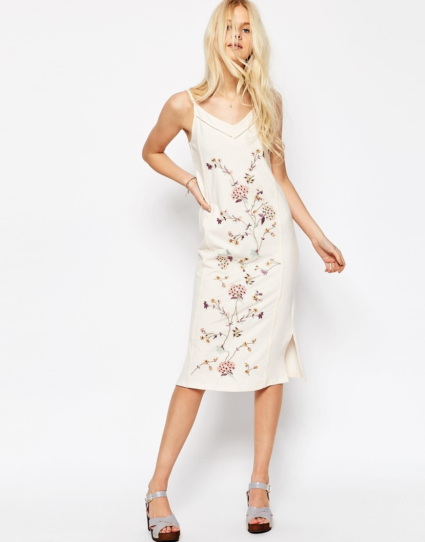 Embroidered Midi Slip Sundress Off White - neckline: low v-neck; sleeve style: spaghetti straps; style: sundress; predominant colour: white; occasions: casual; length: on the knee; fit: body skimming; fibres: cotton - mix; sleeve length: sleeveless; pattern type: fabric; pattern size: standard; pattern: florals; texture group: other - light to midweight; season: s/s 2016; wardrobe: highlight