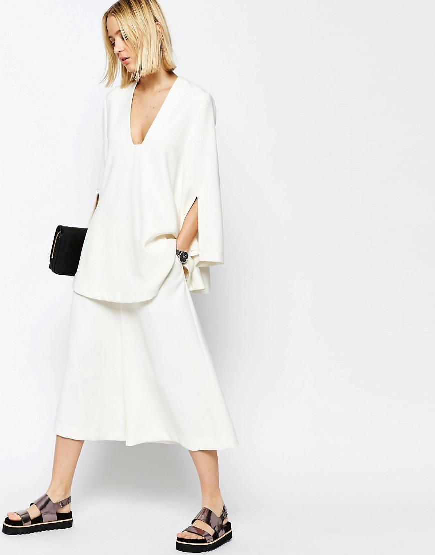 Wide Leg Culottes White - pattern: plain; style: palazzo; waist: high rise; predominant colour: ivory/cream; occasions: casual; length: ankle length; fibres: polyester/polyamide - stretch; fit: wide leg; pattern type: fabric; texture group: jersey - stretchy/drapey; season: s/s 2016; wardrobe: basic