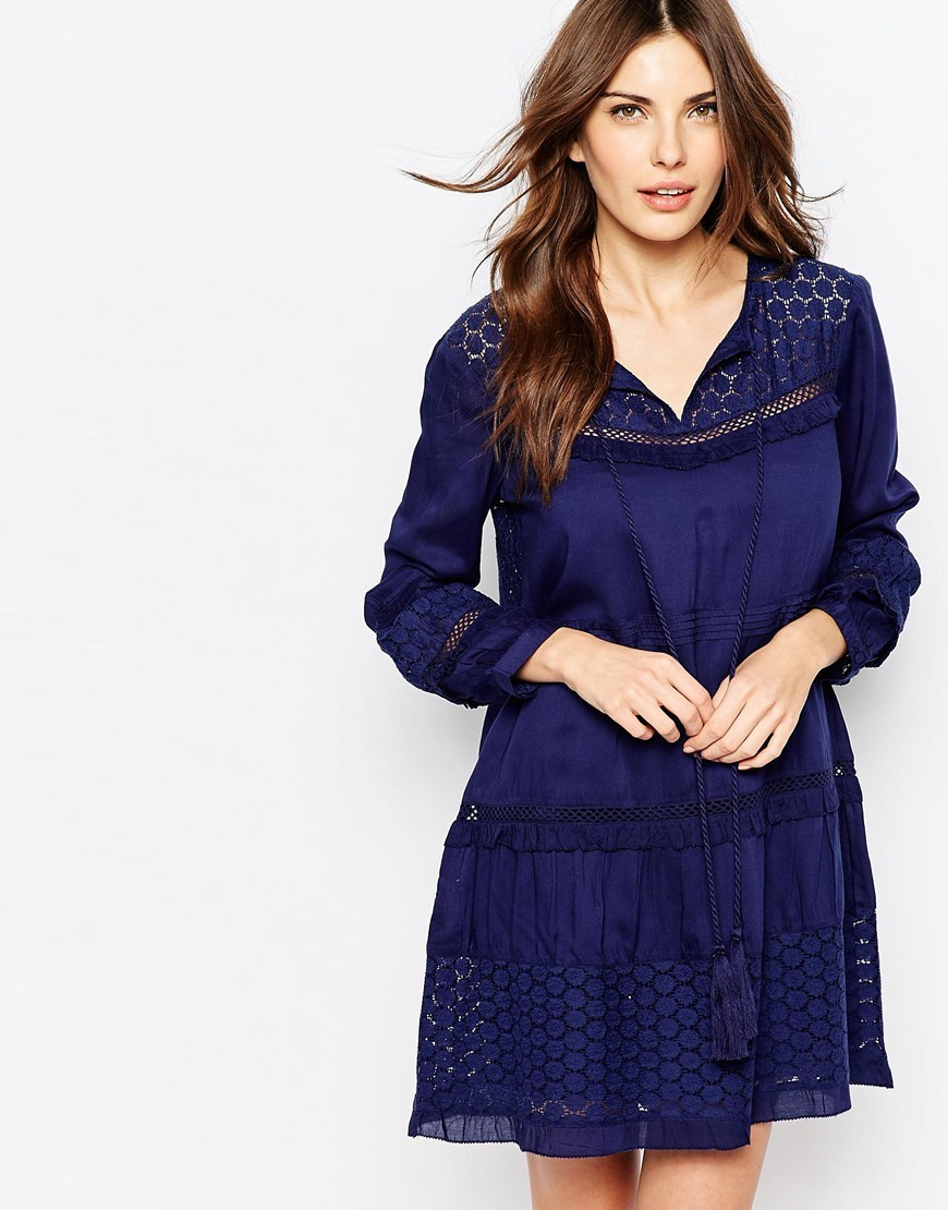 Lola Smock Dress Indigo - style: smock; neckline: v-neck; fit: loose; pattern: plain; predominant colour: royal blue; occasions: casual; length: just above the knee; fibres: cotton - mix; sleeve length: 3/4 length; sleeve style: standard; texture group: cotton feel fabrics; pattern type: fabric; season: s/s 2016; wardrobe: highlight