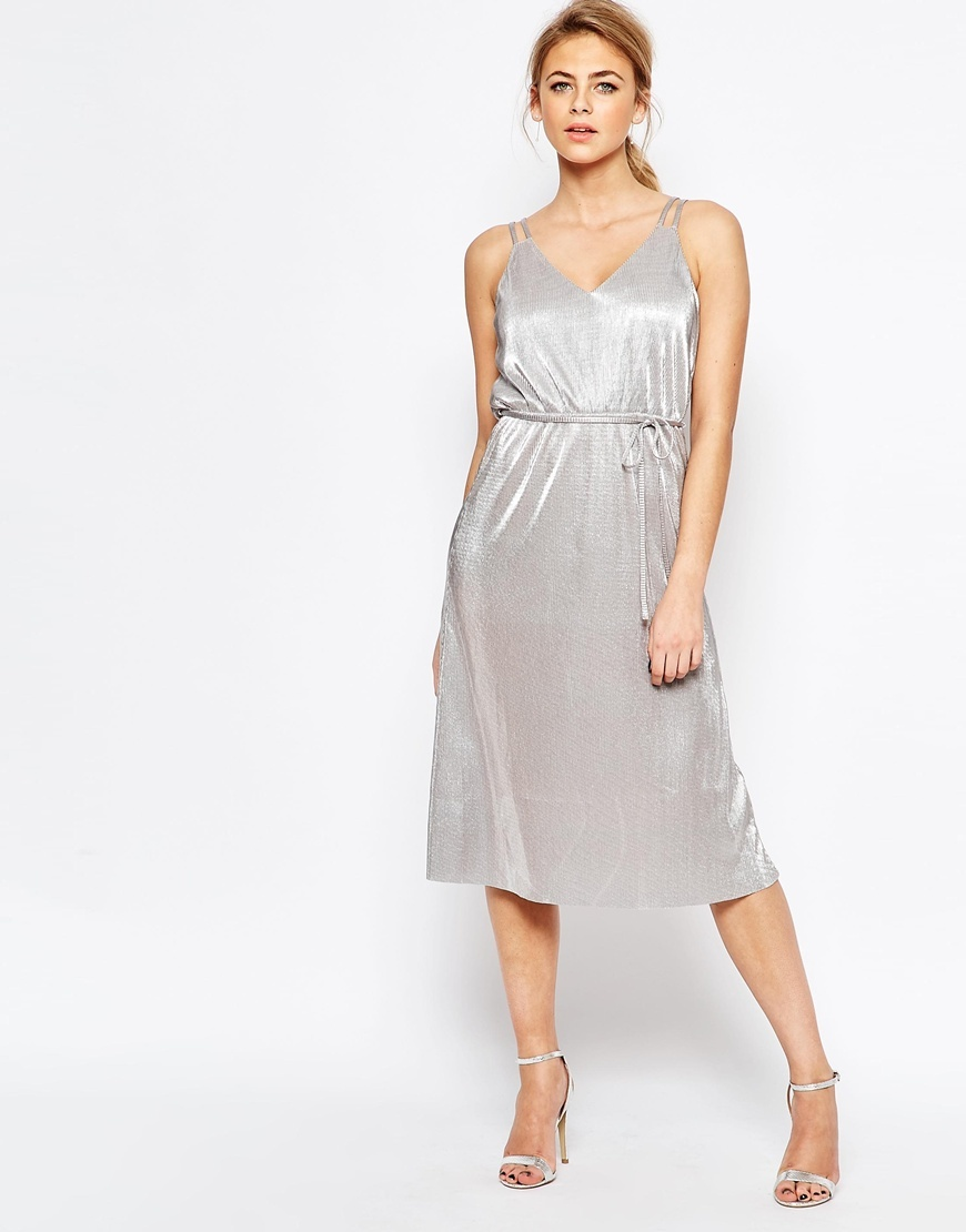 Metallic Midi Cami Dress With Tie Belt Silver - length: below the knee; neckline: v-neck; pattern: plain; sleeve style: sleeveless; waist detail: belted waist/tie at waist/drawstring; predominant colour: silver; fit: body skimming; style: slip dress; fibres: polyester/polyamide - 100%; occasions: occasion; sleeve length: sleeveless; pattern type: fabric; texture group: other - light to midweight; season: s/s 2016; wardrobe: event
