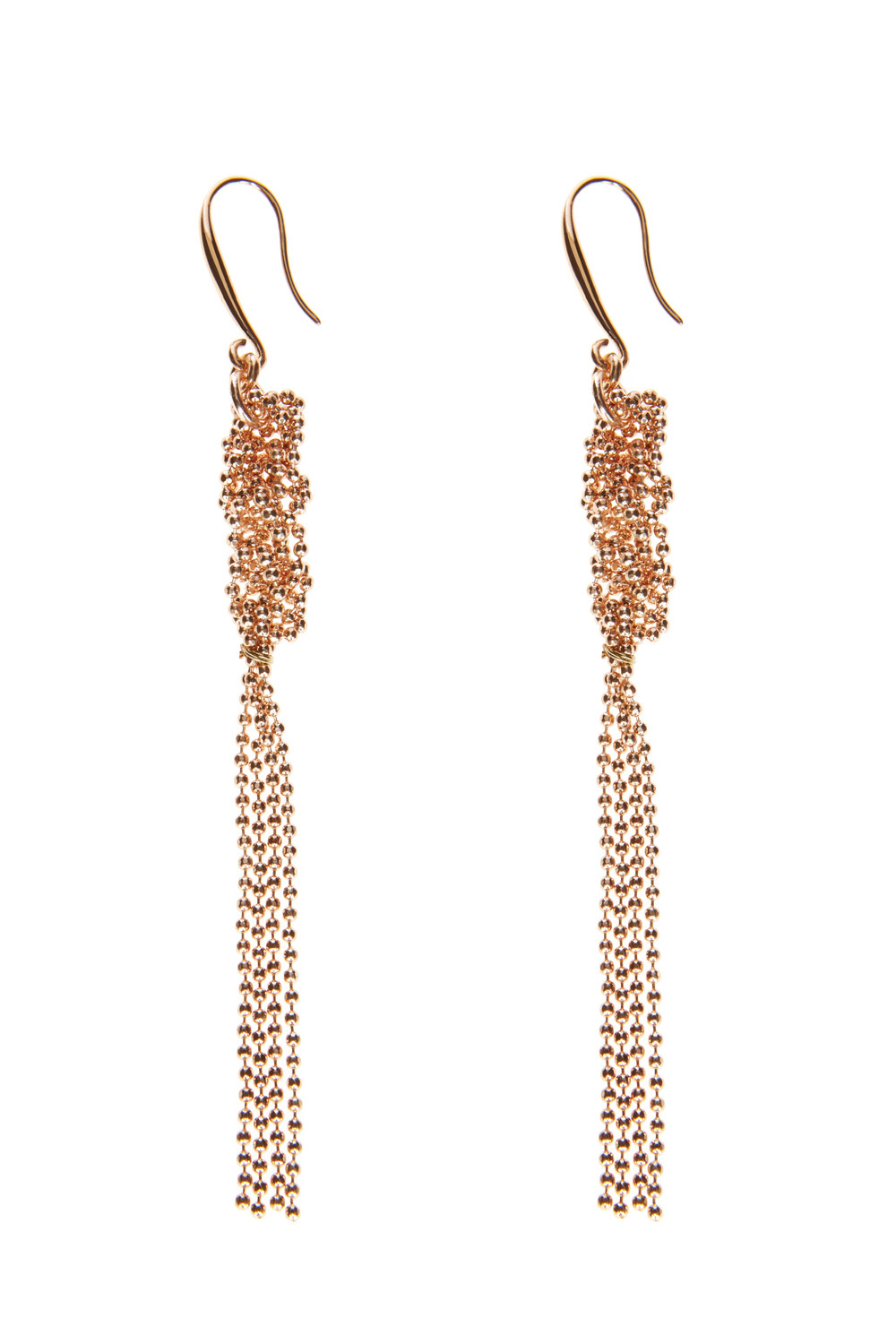 Twist Cluster Earrings - predominant colour: gold; occasions: evening, occasion; style: drop; length: long; size: large/oversized; material: chain/metal; fastening: pierced; finish: metallic; season: s/s 2016; wardrobe: event