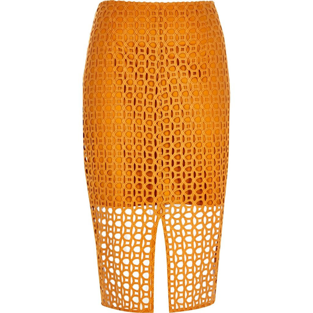 Womens Orange Circle Lace Pencil Skirt - pattern: plain; style: pencil; fit: tailored/fitted; waist: mid/regular rise; predominant colour: bright orange; occasions: evening; length: on the knee; fibres: cotton - 100%; hip detail: slits at hip; texture group: lace; pattern type: fabric; season: s/s 2016; wardrobe: event