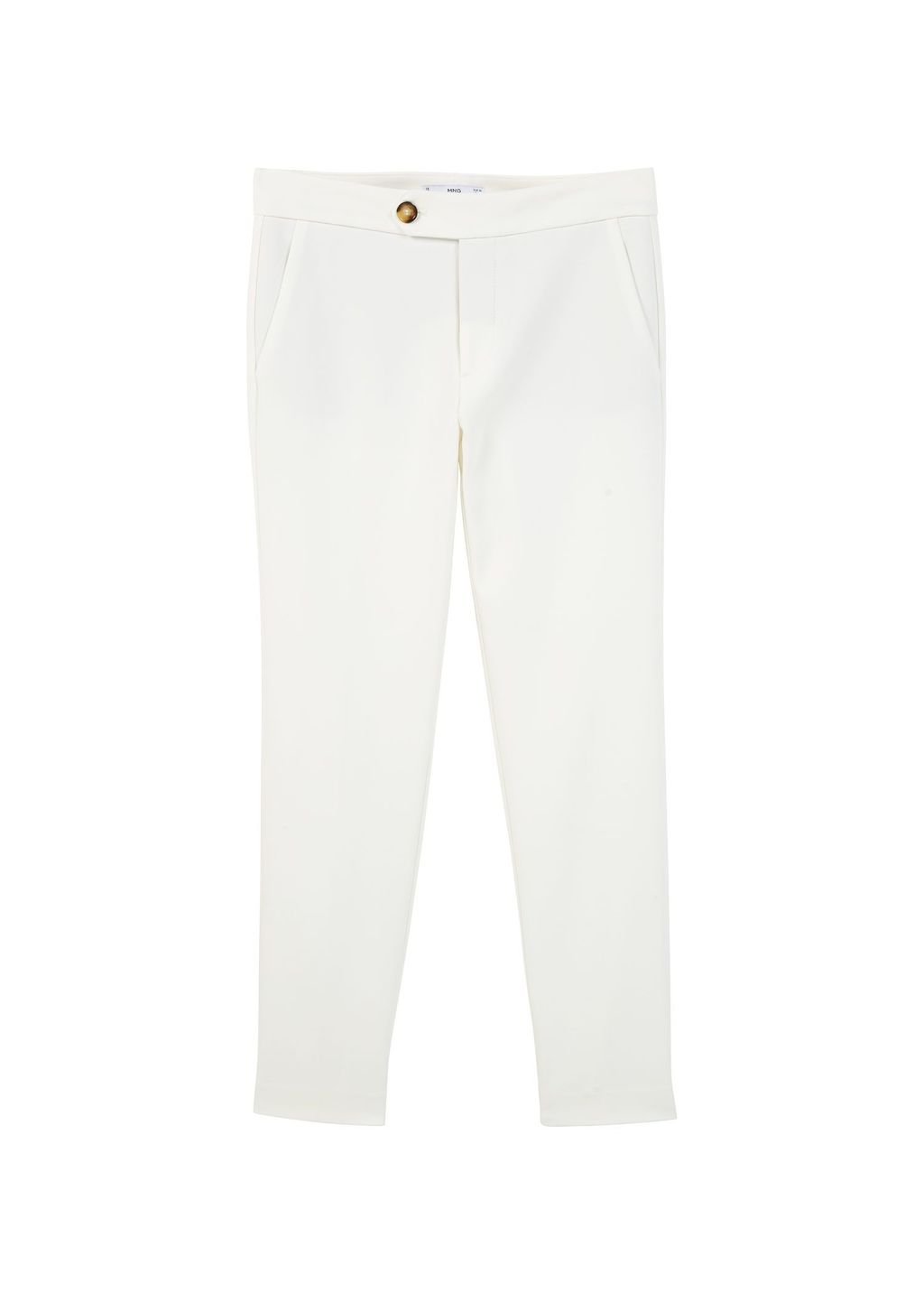 Straight Cotton Trousers, White - length: standard; pattern: plain; waist: mid/regular rise; predominant colour: white; occasions: casual, creative work; fibres: cotton - stretch; texture group: cotton feel fabrics; fit: slim leg; pattern type: fabric; style: standard; season: s/s 2016; wardrobe: basic