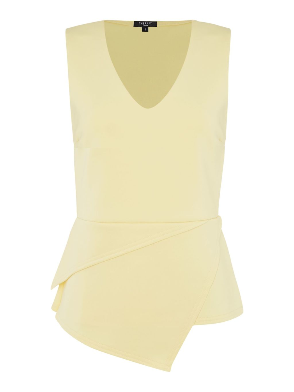 Hana Pleat Detail Top, Lemon - neckline: v-neck; pattern: plain; sleeve style: sleeveless; waist detail: peplum waist detail; predominant colour: primrose yellow; occasions: evening; length: standard; style: top; fibres: polyester/polyamide - stretch; fit: body skimming; sleeve length: sleeveless; pattern type: fabric; texture group: jersey - stretchy/drapey; season: s/s 2016; wardrobe: event
