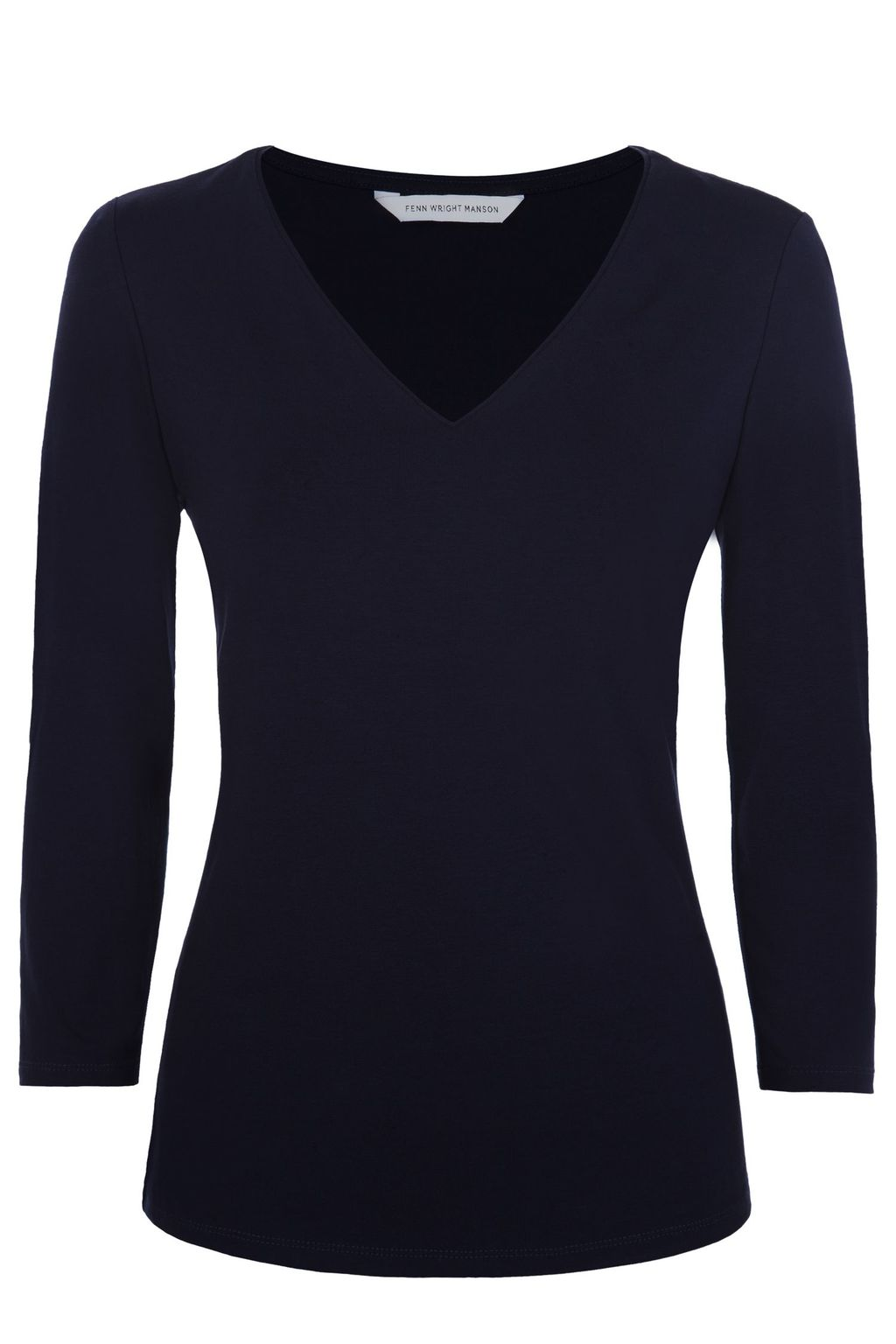 Bosco Top, Navy - neckline: low v-neck; pattern: plain; predominant colour: navy; occasions: casual; length: standard; style: top; fibres: viscose/rayon - stretch; fit: body skimming; sleeve length: 3/4 length; sleeve style: standard; pattern type: fabric; texture group: jersey - stretchy/drapey; season: s/s 2016; wardrobe: basic