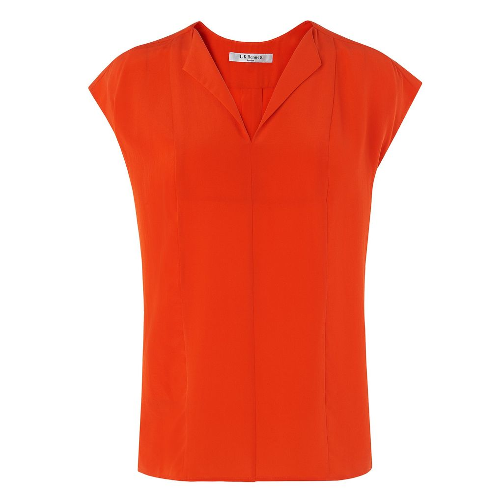 Taryn Top, Orange - neckline: v-neck; sleeve style: capped; pattern: plain; predominant colour: bright orange; occasions: casual; length: standard; style: top; fibres: silk - 100%; fit: body skimming; sleeve length: short sleeve; pattern type: fabric; texture group: jersey - stretchy/drapey; season: s/s 2016; wardrobe: highlight