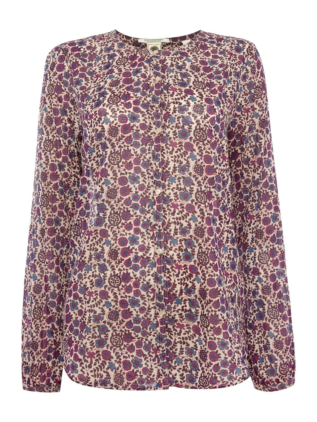 Floral Printed Cotton Shirt, Purple - style: shirt; secondary colour: ivory/cream; occasions: casual; length: standard; fibres: cotton - 100%; fit: body skimming; neckline: crew; sleeve length: long sleeve; sleeve style: standard; pattern type: fabric; pattern: florals; texture group: woven light midweight; predominant colour: dusky pink; multicoloured: multicoloured; season: s/s 2016