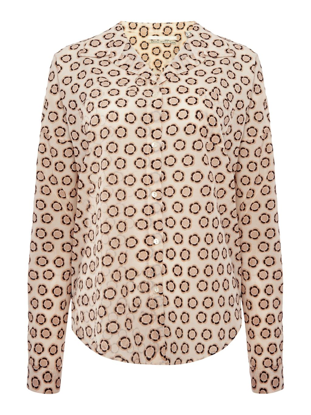 Maison Print Shirt, Pink - neckline: shirt collar/peter pan/zip with opening; style: shirt; secondary colour: chocolate brown; predominant colour: nude; occasions: casual; length: standard; fit: body skimming; sleeve length: long sleeve; sleeve style: standard; pattern type: fabric; pattern size: standard; pattern: patterned/print; texture group: other - light to midweight; fibres: viscose/rayon - mix; multicoloured: multicoloured; season: s/s 2016; wardrobe: highlight