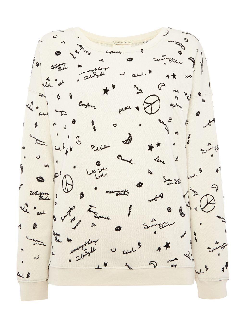 Peace Sweatshirt, Cream - neckline: round neck; style: sweat top; predominant colour: ivory/cream; secondary colour: black; occasions: casual; length: standard; fibres: cotton - mix; fit: body skimming; sleeve length: long sleeve; sleeve style: standard; pattern type: fabric; pattern: patterned/print; texture group: jersey - stretchy/drapey; multicoloured: multicoloured; season: s/s 2016; wardrobe: highlight
