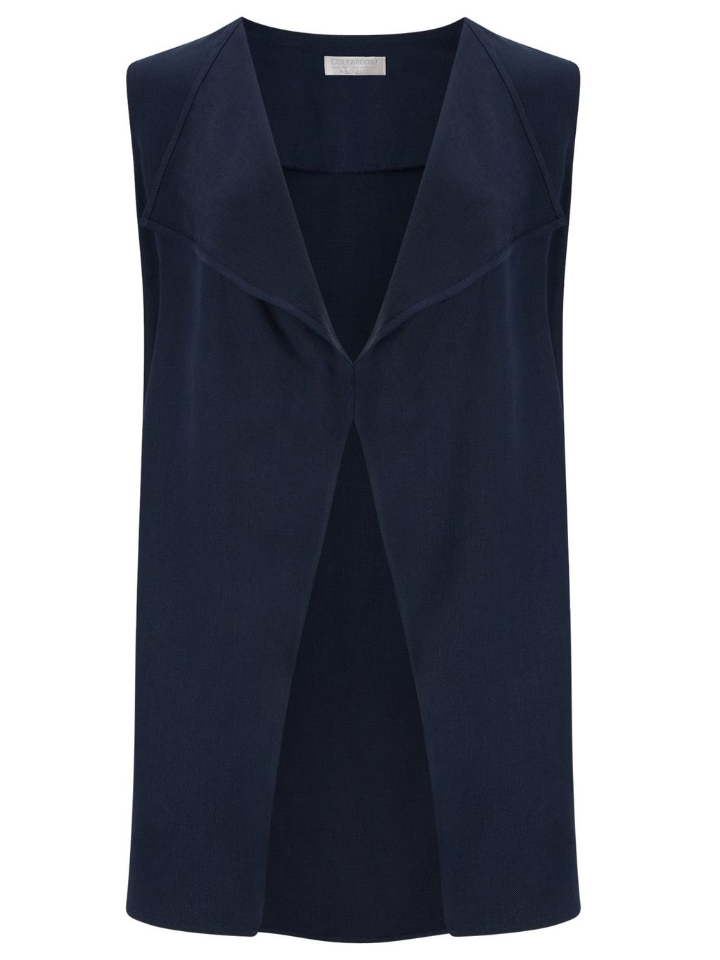 Tencel Long Waistcoat, Blue - pattern: plain; sleeve style: sleeveless; style: gilet; collar: round collar/collarless; fit: loose; predominant colour: navy; occasions: casual, creative work; length: standard; fibres: polyester/polyamide - 100%; sleeve length: sleeveless; collar break: low/open; pattern type: fabric; texture group: other - light to midweight; season: s/s 2016; wardrobe: highlight