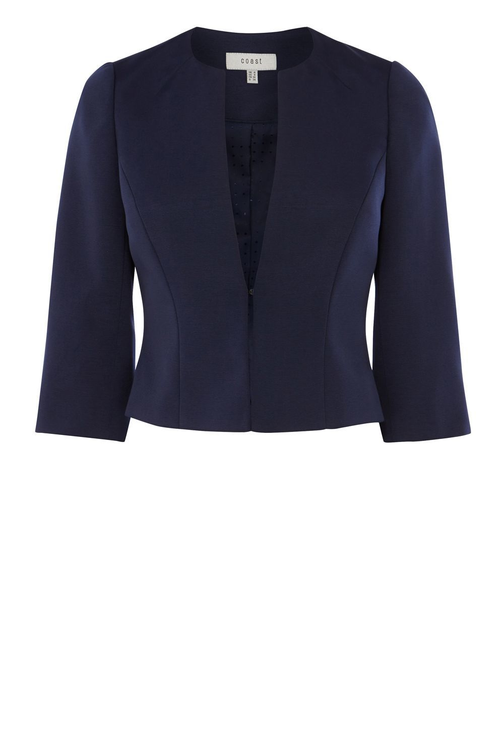 Kemara Ottoman Jacket, Navy - pattern: plain; style: single breasted blazer; collar: round collar/collarless; predominant colour: navy; fit: tailored/fitted; fibres: polyester/polyamide - 100%; occasions: occasion; sleeve length: 3/4 length; sleeve style: standard; texture group: crepes; collar break: low/open; pattern type: fabric; length: cropped; season: s/s 2016; wardrobe: event