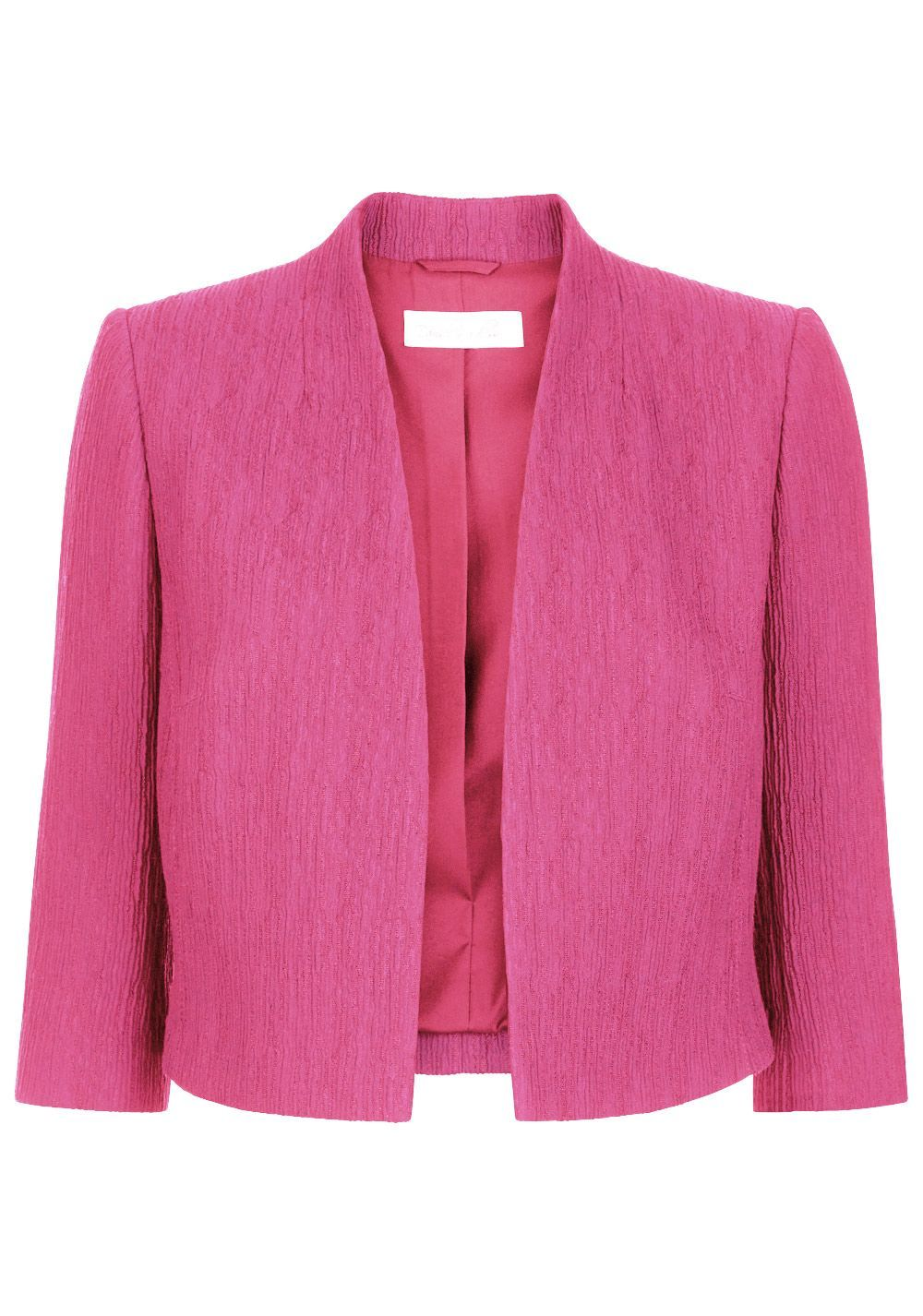 Sofia Jacket, Pink - pattern: plain; collar: round collar/collarless; style: boxy; predominant colour: hot pink; length: standard; fit: straight cut (boxy); fibres: cotton - mix; occasions: occasion; sleeve length: 3/4 length; sleeve style: standard; collar break: low/open; pattern type: fabric; texture group: woven light midweight; season: s/s 2016; wardrobe: event