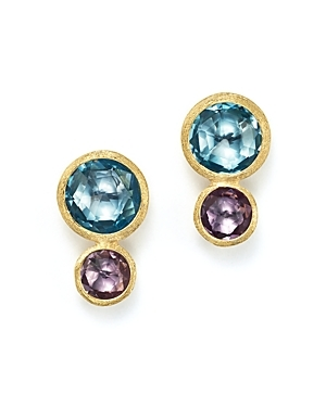 18 K Yellow Gold Jaipur Two Stone Earrings With Blue Topaz And Amethyst - predominant colour: gold; occasions: evening, occasion; style: drop; length: mid; size: standard; material: chain/metal; fastening: pierced; finish: metallic; embellishment: jewels/stone; multicoloured: multicoloured; season: s/s 2016; wardrobe: event