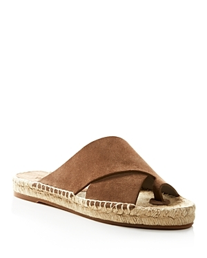 Carlita Espadrille Platform Slide Sandals - predominant colour: tan; secondary colour: tan; occasions: casual; material: suede; heel height: flat; heel: standard; toe: open toe/peeptoe; style: slides; finish: plain; pattern: plain; season: s/s 2016; wardrobe: highlight
