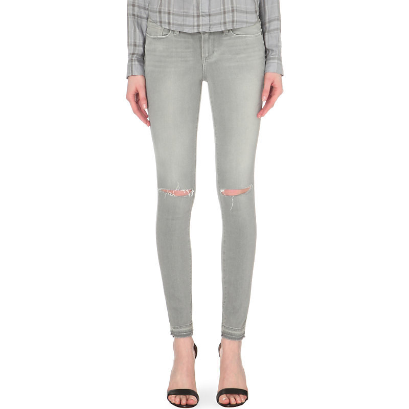Verdugo Ultra Skinny Mid Rise Jeans, Women's, Dove Grey Destructed - style: skinny leg; length: standard; pattern: plain; pocket detail: traditional 5 pocket; waist: mid/regular rise; predominant colour: light grey; occasions: casual; fibres: cotton - stretch; texture group: denim; pattern type: fabric; jeans detail: rips; season: s/s 2016; wardrobe: highlight
