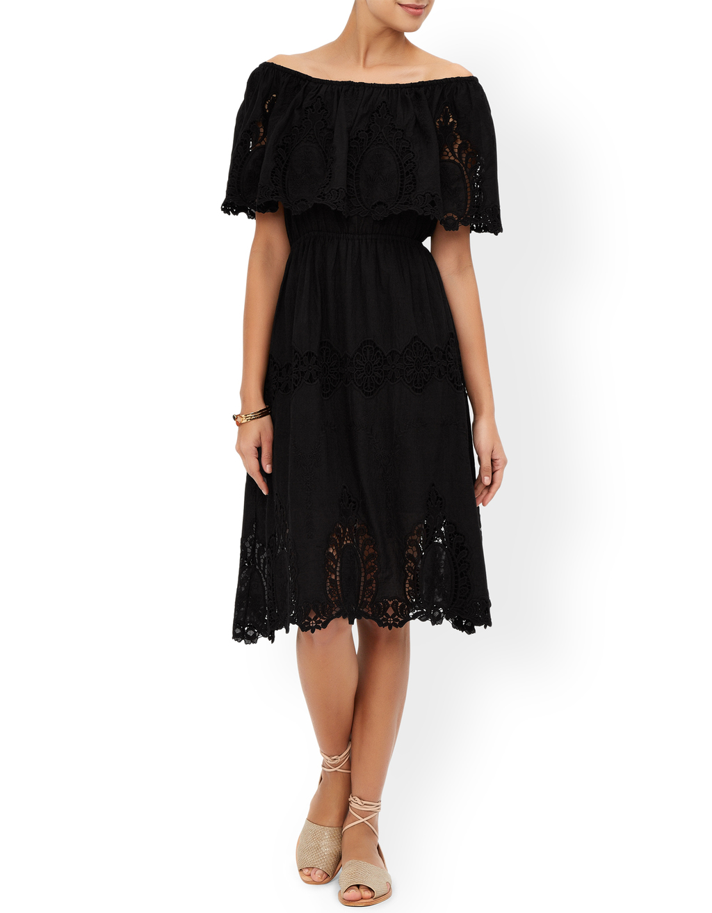 Marilyn Dress - length: below the knee; neckline: off the shoulder; sleeve style: angel/waterfall; fit: fitted at waist; waist detail: fitted waist; predominant colour: black; occasions: casual, holiday; style: fit & flare; fibres: cotton - 100%; hip detail: soft pleats at hip/draping at hip/flared at hip; sleeve length: half sleeve; texture group: cotton feel fabrics; pattern type: fabric; pattern size: standard; pattern: patterned/print; embellishment: embroidered; season: s/s 2016
