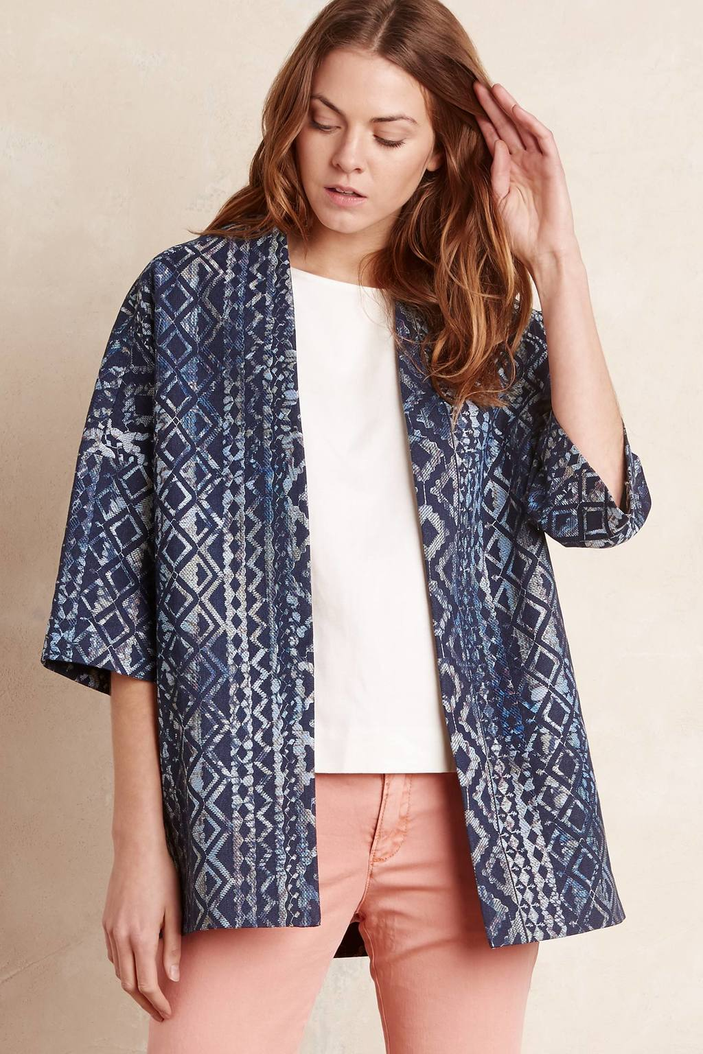 Talise Aztec Coat, Blue - length: below the bottom; collar: round collar/collarless; fit: loose; style: single breasted; predominant colour: navy; occasions: casual, creative work; fibres: polyester/polyamide - stretch; sleeve length: 3/4 length; sleeve style: standard; collar break: low/open; pattern type: fabric; pattern: patterned/print; texture group: brocade/jacquard; season: s/s 2016; wardrobe: highlight