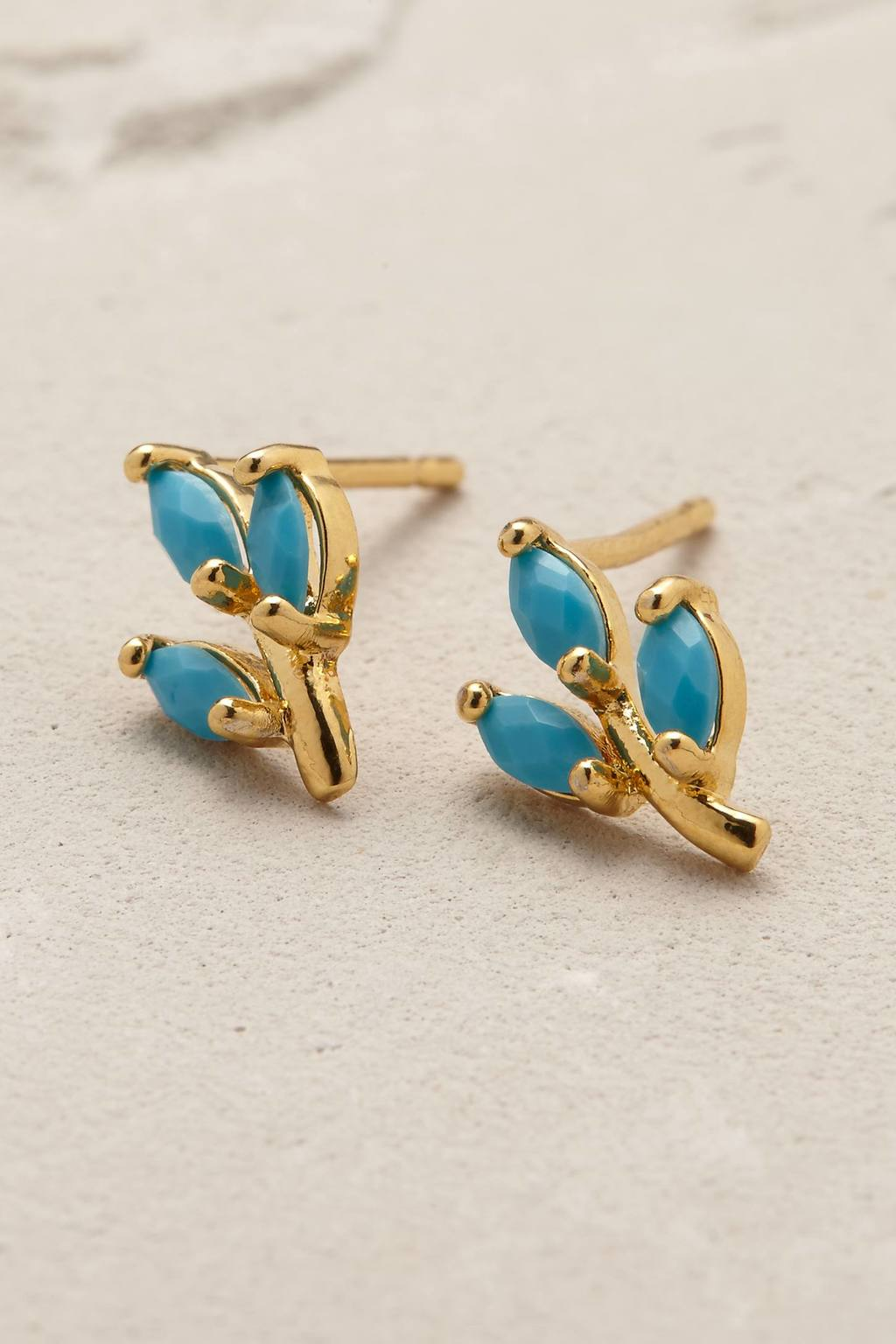 Goldleaf Earrings - secondary colour: diva blue; predominant colour: gold; occasions: evening, occasion; style: stud; length: short; size: small/fine; material: chain/metal; fastening: pierced; finish: plain; embellishment: jewels/stone; season: s/s 2016; wardrobe: event