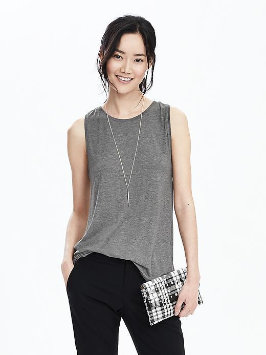 Long Hi Neck Crew Tank Dark Heather Gray - pattern: plain; sleeve style: sleeveless; style: vest top; predominant colour: mid grey; occasions: casual; length: standard; fibres: viscose/rayon - 100%; fit: body skimming; neckline: crew; sleeve length: sleeveless; pattern type: fabric; texture group: jersey - stretchy/drapey; season: s/s 2016; wardrobe: basic