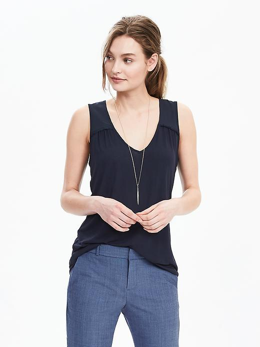 Sleeveless Scoop Top Preppy Navy - neckline: v-neck; pattern: plain; sleeve style: sleeveless; style: vest top; predominant colour: navy; occasions: casual; length: standard; fibres: viscose/rayon - 100%; fit: body skimming; sleeve length: sleeveless; pattern type: fabric; texture group: jersey - stretchy/drapey; season: s/s 2016; wardrobe: basic