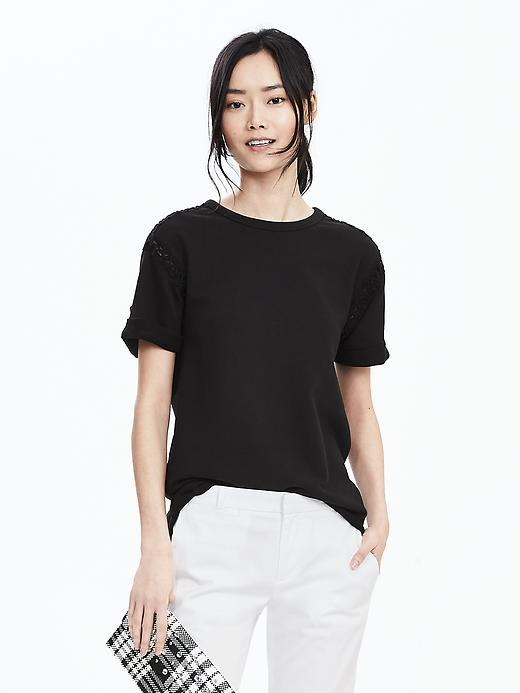 Lace Trim Top Black - pattern: plain; style: t-shirt; predominant colour: black; occasions: casual; length: standard; fibres: cotton - 100%; fit: body skimming; neckline: crew; sleeve length: short sleeve; sleeve style: standard; pattern type: fabric; texture group: jersey - stretchy/drapey; season: s/s 2016; wardrobe: basic