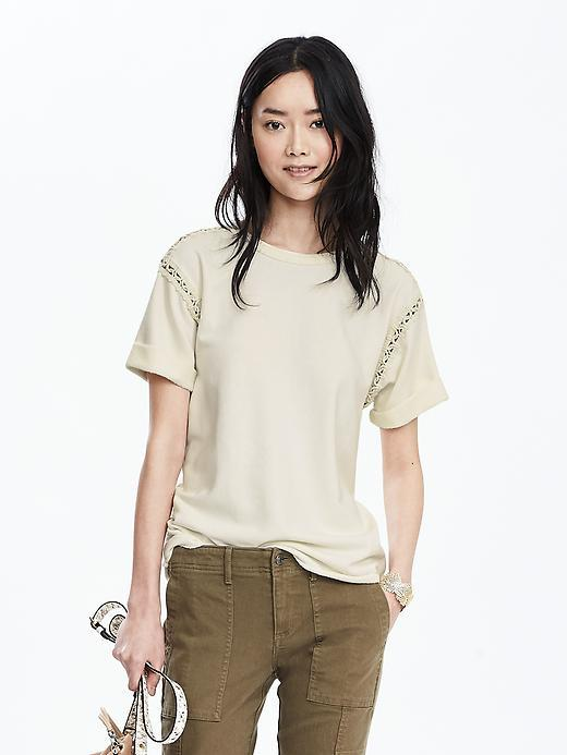 Lace Trim Top Cocoon - pattern: plain; predominant colour: ivory/cream; occasions: casual; length: standard; style: top; fibres: cotton - 100%; fit: body skimming; neckline: crew; sleeve length: short sleeve; sleeve style: standard; pattern type: fabric; texture group: jersey - stretchy/drapey; season: s/s 2016; wardrobe: basic