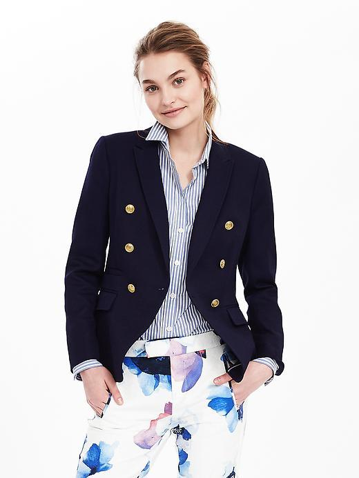 Nautical Style Blazer Blue Indigo - pattern: plain; style: single breasted blazer; collar: standard lapel/rever collar; predominant colour: navy; secondary colour: gold; occasions: work; length: standard; fit: tailored/fitted; fibres: cotton - 100%; sleeve length: long sleeve; sleeve style: standard; collar break: medium; pattern type: fabric; texture group: woven light midweight; season: s/s 2016